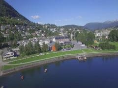 Aerial view over the town of Voss, Hordaland, Norway Stock Footage