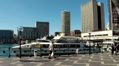 Stock Video Footage of Sydney Circular Quay pan to opera house time lapse