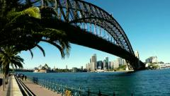 Sydney Harbour Bridge and ferry time lapse zoom out Stock Footage