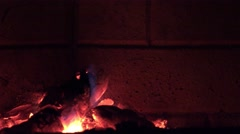 Burning log fire Stock Footage