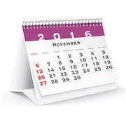 Stock Illustration of November 2016 desk calendar