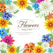 tropical style fashion wedding invitation - stock illustration