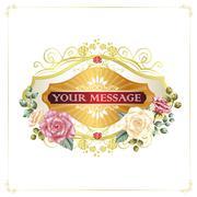 gorgeous floral cards with golden frames - stock illustration