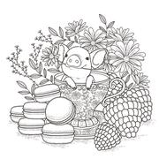adorable piggy coloring page - stock illustration
