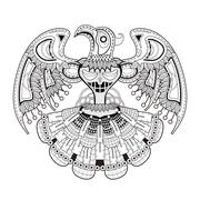 mystery bird totem coloring page - stock illustration