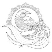 Stock Illustration of graceful bird coloring page