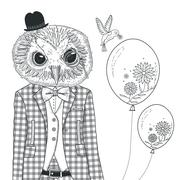 Stock Illustration of adorable owl coloring page