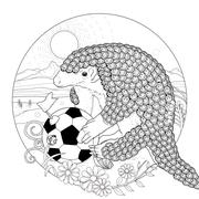 Lovely armadillo coloring page Stock Illustration