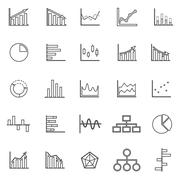 Graph line icons on white background - stock illustration