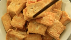 get fried tofu with chopsticks - stock footage