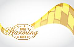 Stock Illustration of house warming party gold wave background sign