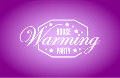 Stock Illustration of house warming party purple background sign
