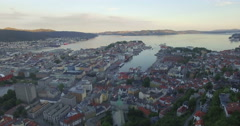 Stock Video Footage of Aerial view from Mount Fløyen, Bergen, Hordaland, Norway, Scandinavia