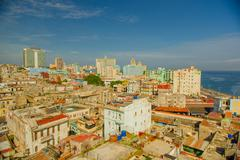 Panorama of Havana city Vedado District - stock photo