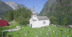 Traditional white church in Nærøyfjord, Gudvangen, Aurland, Norway Stock Footage