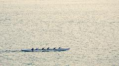 Outrigger Canoe Team Rowing near Lahaina, Hawaii Stock Photos