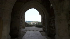 View of a gothic gate and a fountain at Corvin Castle, Hunedoara Stock Footage