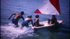 2493 - sailboat ride on relaxing summer day - vintage film home movie Stock Footage