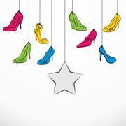 creative colorful footwear banner design vector - stock illustration