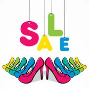 colorful fashion footwear sale banner design vector - stock illustration