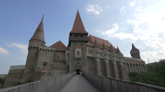 View of the Corvin Castle from the bridge, Hunedoara Stock Footage