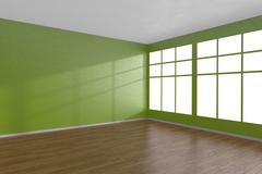 Corner of green empty room with large windows - stock illustration