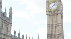4K Portrait of couple standing in front of London Houses of Parliament Stock Footage