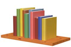 Wooden bookshelf with colored books - stock illustration