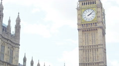 4K Portrait of couple standing in front of London Houses of Parliament - stock footage