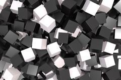 black and white cubes - stock illustration