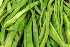 Closeup of Fresh Green Runner Beans Stock Photos