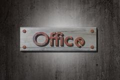 Office placard - stock illustration