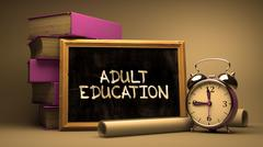 Handwritten Adult Education on a Chalkboard - stock illustration