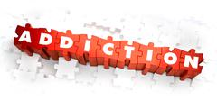 Addiction - White Word on Red Puzzles - stock illustration