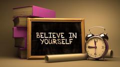 Stock Illustration of Believe in Yourself Handwritten on Chalkboard