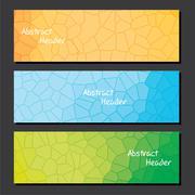 Creative random crystal pattern web header design Stock Illustration
