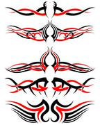 Setof Tribal Tattoos - stock illustration