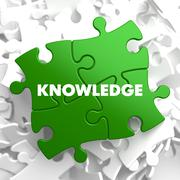 Knowledge on Green Puzzle - stock illustration