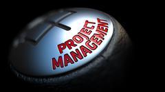 Project Management on Car's Shift Knob - stock illustration