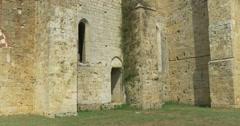 San galgano abbey exterior tilt Stock Footage