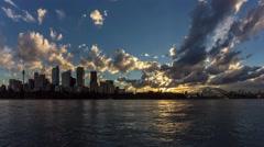 Sydney CBD skyline day to night sunset timelapse in 4k Stock Footage