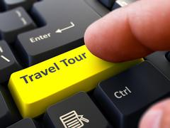 Travel Tour Concept. Person Click Keyboard Button - stock illustration