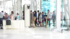 HD Format : Airport travelers at security screening. Stock Footage