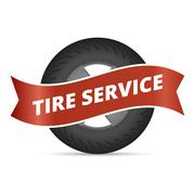 Tire service - stock illustration