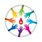 Stock Illustration of people helping or support donate blood concept design vector