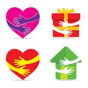 Care for every thing like hear, love, gift or your home design concept vector Piirros