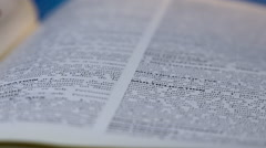 Words, book, dictionary, text picture - pages flipping, turning - stock footage