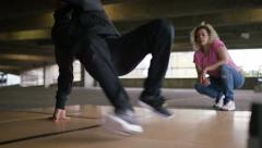 4K Close shot of male breakdancer, shot on Red Epic Dragon Stock Footage