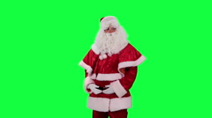 Santa Claus with a gift box chroma key (green screen) - stock footage
