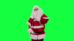 Santa Claus with a gift box chroma key (green screen) Stock Footage